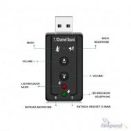 Adaptador de Som USB Virtual 7.1 Canais